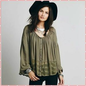 Free People Rainy Days Swing Top button down olive